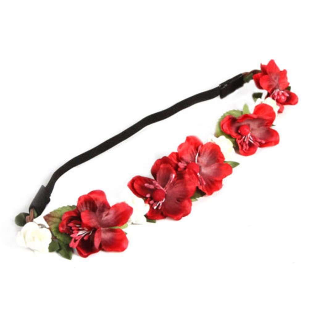 Alamana Rose Flower Garland Crown Wedding Hair Wreath Boho Floral Headband