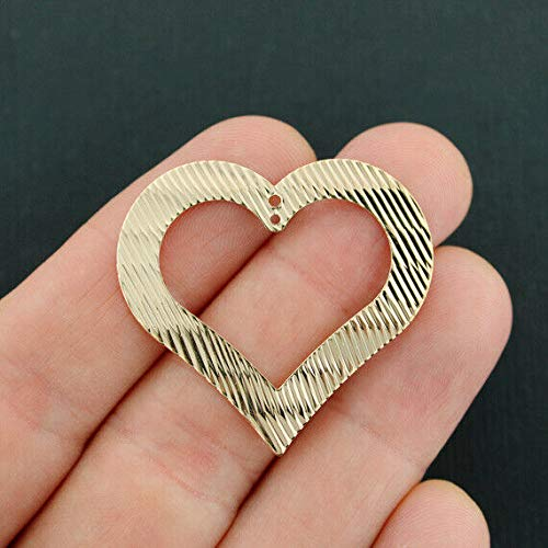 Extensive Collection of Charm 2 Heart Charms Gold Tone Ripple Texture Open Design - GC985 Express ()