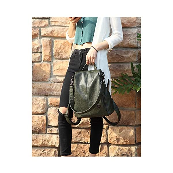 Tisdaini® Sacs portés Dos Femme Sac a Dos Sacs portés Main Cuir antivol Sacs portés épaule Vert