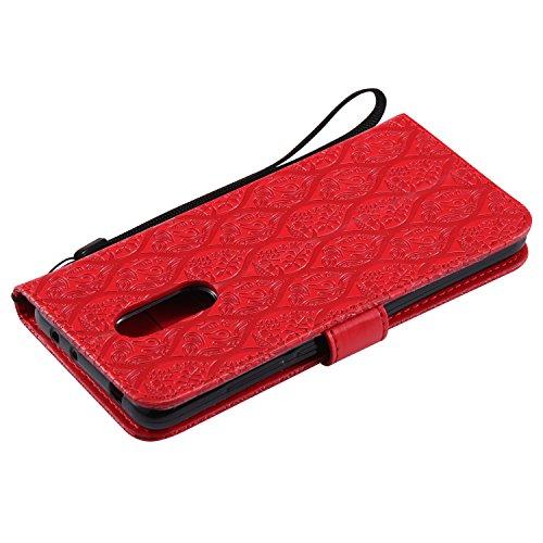 Funda Xiaomi Redmi 5, SsHhUu Funda PU Piel Genuino Carcasa en Folio [Ranuras para Tarjetas] [Cierre Magnetico] con Acollador para Xiaomi Redmi 5 (5.7) - Azul Rojo