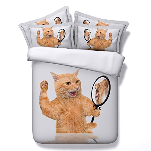 KTLRR Cat Animal Decor Duvet Cover Set,3D Mirror Angry Cat Printed,Kids Adults Bedroom 4-Piece Bedding Set with Bed Sheet & 2 Pillow Shams (Mirror cat, King) by KTLRR
