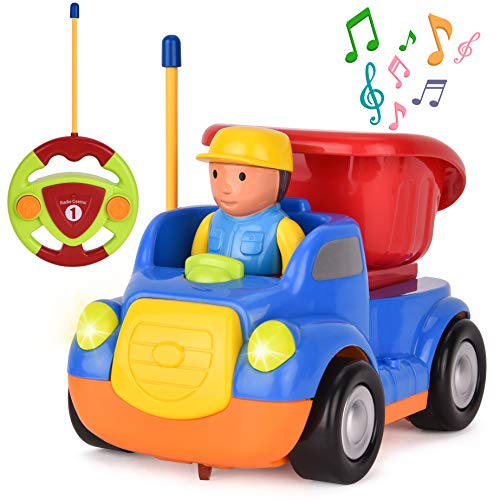 Rainbrace Toddler Remote Control Car Cartoon RC Dump Truck Toy with Music & Light Kids Toddler Toys for Boys Girls Birthday Gift - Blue