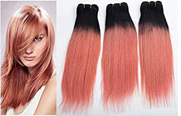 Amazon 3 pcs rose gold brazilian ombre straight hair 7a 3 pcs rose gold brazilian ombre straight hair 7a human hair weave bundles pink gold virgin pmusecretfo Images