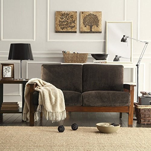 Durable Tribecca Home Hills Mission-Style Oak Loveseat Perfect Addition to Any Room (Dark Brown - Fabric Loveseat Oak
