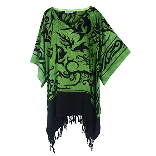 Tropicalsale Women's Plus Size Lovely Sun Dolphin Green Caftan Tunic Hippy Top