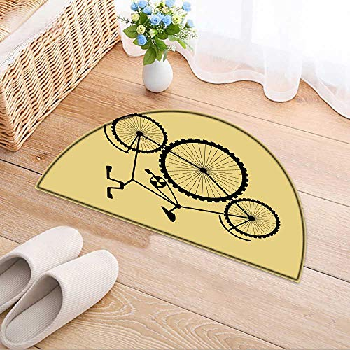 Semicircle Area Rug Unreal Stylized Bicycles for Background Postcard Calendar Booklet Label Indoor/Outdoor Semicircle Area Rug W31 x H20 INCH