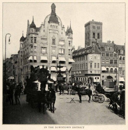 [1910 Print Copenhagen Architecture Denmark Horse Carriage Costume Awning Tower - Original Halftone] (1910 Costumes)