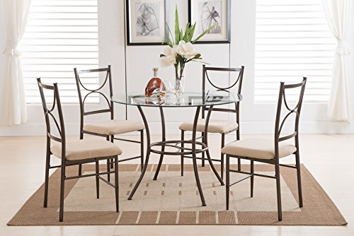 5 PC. Set Kings Brand Round Glass & Metal Dining Room Kitchen Table And 4 Chairs