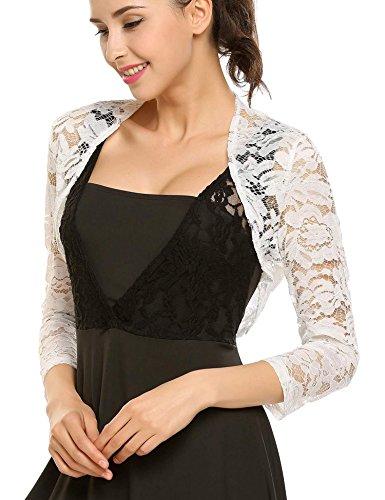 Lace Bolero - Bulges Women Floral Lace Shrug long Sleeve Front Open Bolero Blouse Crop Top,White,Small