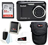 KODAK PIXPRO FZ43 Friendly Zoom Digital Camera (Black) w/32GB SD Card Bundle