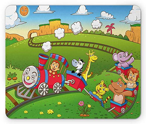 Train Mouse Pad, Railroad on Hills Smiling Sun Cartoon Environment Different Cute Creatures on Wagons, Standard Size Rectangle Non-Slip Rubber Mousepad, Multicolor