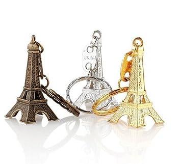 Inconnu Lote DE 50 Llavero Torre Eiffel 3 Colores Variados Color Plateado Dorado Bronce Regalo Recuerdo París Francia