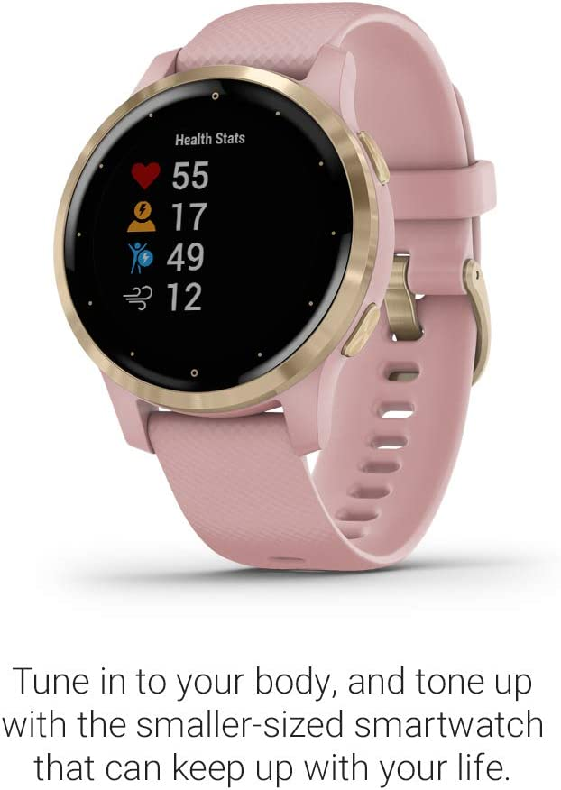 Garmin vívoactive 4S, Smaller-Sized GPS Smartwatch, Features Music, Body Energy Monitoring, Animated Workouts, Pulse Ox Sensors and More, Light Gold ...