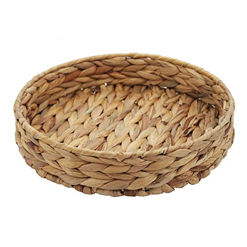 HDKJ Fruit Tray Weaving by Grass, Round Bins for Vegetable, Arts and Crafts. (Large) (Tray Large Wicker Round)