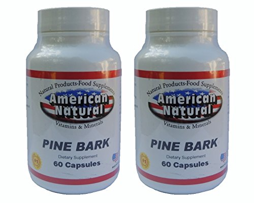 American Natural Pine Bark 2 PACK 2 x 60 Caps 100 mg 100% Natural by PINE BARK EXTRACT