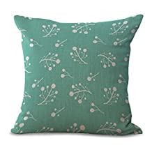 """YJ Bear Nordic Europe White Fruit Print Linen Decorative Throw Cushion with Filler Office Chair Seat Back Cushion Decorative Pillow with Insert 18"""" X 18"""""""