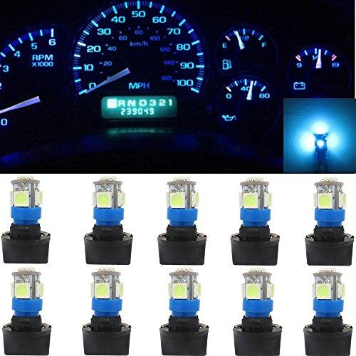 WLJH 5050-5SMD LED Bulb 2825 168 194 LED Instrument Panel Cluster Gauge Dashboard Indicator Lighting 12V Lamp W/Twist Lock Socket(10pcs,Ice Blue)