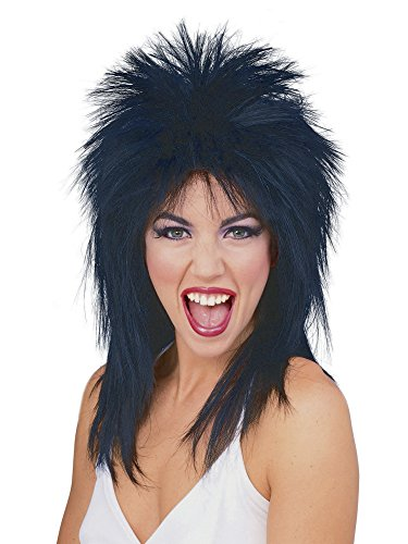 80s Diva Adult Costume - Rubie's Spiked Rocker Wig, Black, One Size