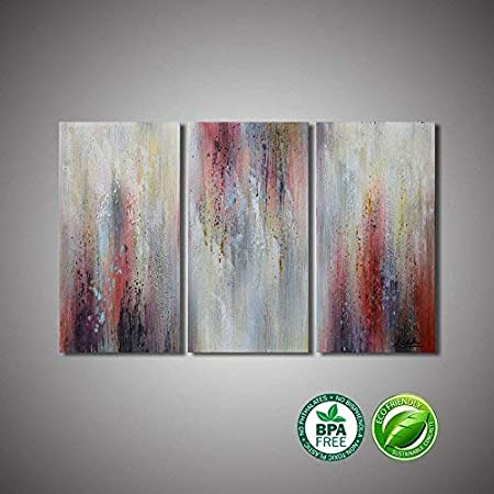 "ARTLAND 3 Pieces Abstract Canvas Wall Art for Living Room 36x24inch Gray and Red Impressionism Painting /""Weak Passion/""Hand Painted Office Wall Decor Bedroom Artwork Ready to Hang"