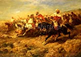 SCHREYER ADOLF ARABIAN HORSEMEN ARTIST PAINTING REPRODUCTION HANDMADE OIL CANVAS 28x40inch MUSEUM QUALITY