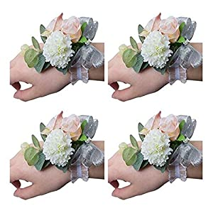 Flonding Girl Bridesmaid Wedding Wrist Corsage Bride Wrist Flower Corsages Stretch Bracelet Wristband for Wedding Prom Party Homecoming Hand Flowers Decor Pack od 4 69