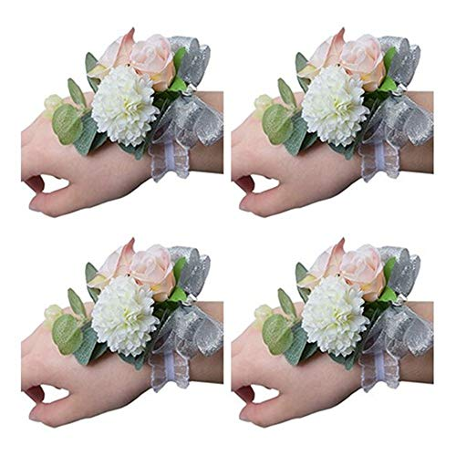 Flonding Girl Bridesmaid Wedding Wrist Corsage Bride Wrist Flower Corsages Stretch Bracelet Wristband for Wedding Prom Party Homecoming Hand Flowers Decor Pack od 4 (Fresh Flower Corsage)