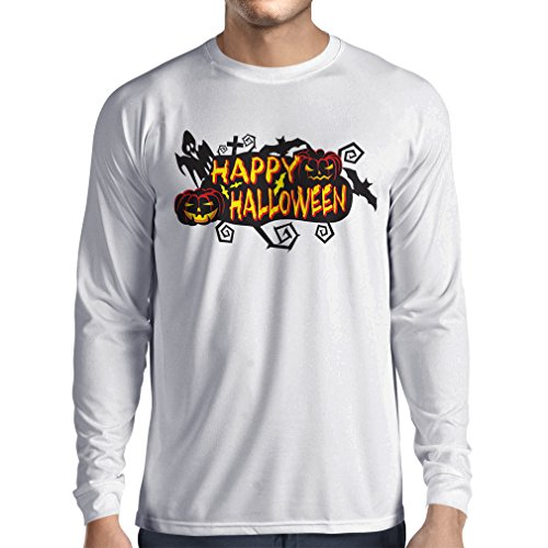 Long Sleeve t Shirt Men Owls, Bats, Ghosts, Pumpkins - Halloween Outfit Full Spookiness (XX-Large White Multi Color) -