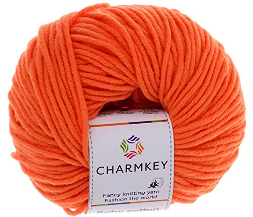 Charmkey Baby Cotton Yarn Simply Soft Boutique 4 Ply Medium Acrylic Blended Worsted Dungarees Knitting Yarn for Spring Summer Wear, 1 Skein, 1.58 Ounce (Russet Orange)