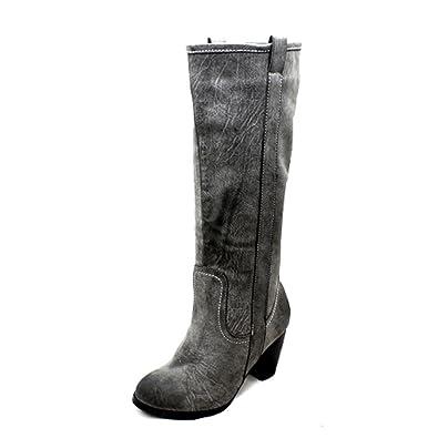 Brown Mottled Effect Low Heel Knee Length Boots OPS0K
