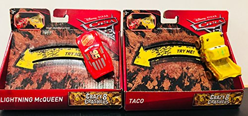 Set of 2 Disney Cars 3 Crazy 8 Crashers 1:55 Die Cast Collectible Vehicles - Lightning Mcqueen & Taco