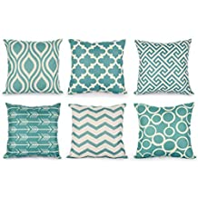 Top Finel 100% Durable Cotton Linen Square Decorative Throw Pillows Cushion Covers Pillowcases Creative New Design Set of 6 Size 18 x18 Inch-Series