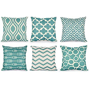 Amazoncom Howarmer Canvas Cotton Aqua Blue Decorative Throw