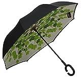 Bazaar Pirates Green Leaf Printed Reverse Umbrella Or C Handle Umbrella, Opposite Umbrella ( Multi - Color )