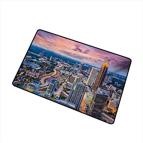 (Becky W Carr Modern Universal Door mat Atlanta City Skyline at Sunset with Hazy Syk Georgia Town American View Door mat Floor Decoration W29.5 x L39.4 Inch,Baby Pink Blue Silver)