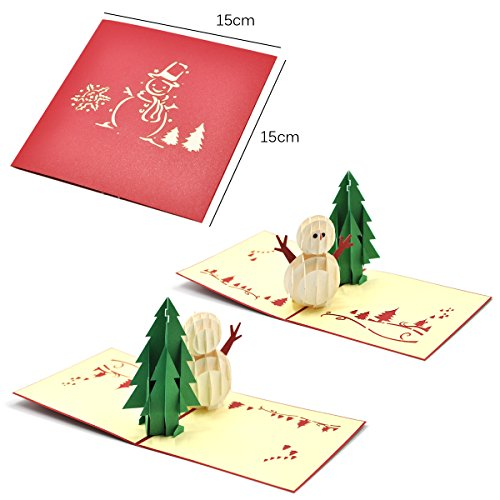 eZAKKA 3D Christmas Cards Pop Up Holiday Greeting Gifts Cards with Envelopes for Xmas Merry Christmas New Year, 5-Pack Photo #3