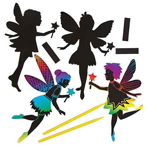 Baker Ross Fairy Scratch Art Fridge Magnets Craft Kit for Children to Design Make and Display (Pack of 10) ()