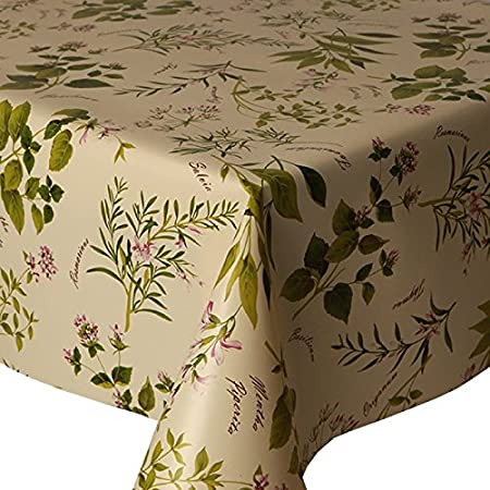 PVC Tablecloth Herb Garden 48u0026quot; Round (122cm) Approx., Rosemary Sage  Thyme