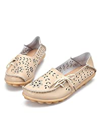 DADALING Women's Genuine Leather Loafers Casual Moccasin Driving Shoes Indoor Flat Slip-on Slippers