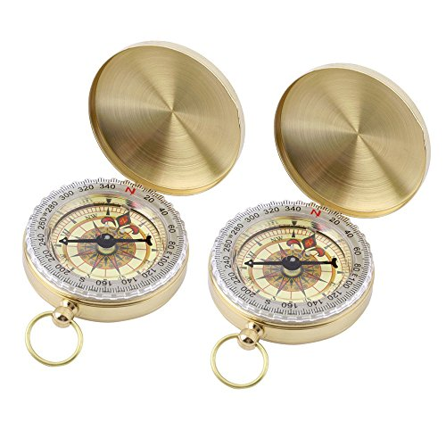2Pcs Camping Survival Compass Survival Gear Compass Classic Pocket Style Multifunction Camping Compass Flip-Open Compass Hiking Camping Climbing Compass Glow in the Dark Outdoor Military Compass by WElinks