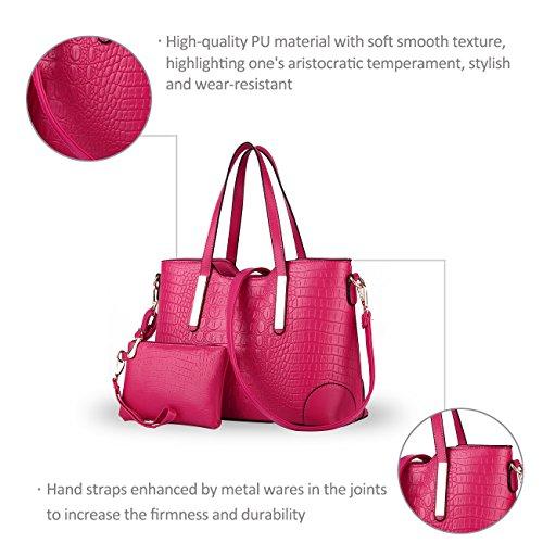 NICOLE&DORIS nuevos bolsos de cocodrilo patrón de la moda de las señoras de hombro diagonal bolsa bolso ocasional BIG BAG(Black) Rose