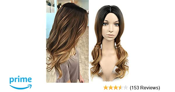 Lady Miranda 3 Tone Ombre Wig Black To Brown Blonde Middle Part High Density Heat Resistant Synthetic Hair Weave Full Wigs For Women