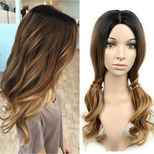 Lady Miranda 3 Tone Ombre Wig Black to Brown Blonde Middle Part High Density Heat Resistant Synthetic Hair Weave Full Wigs For Women (Black&Brown&Blonde)