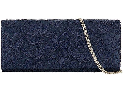 accessorize-me rivestimento in pizzo sera pochette borsa wedding Races Prom 12a colori da 09222(blu navy)