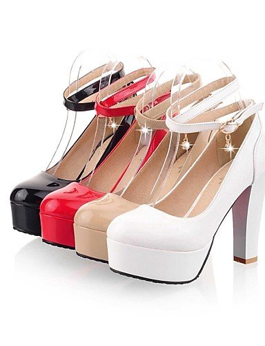 GGX/Damen Schuhe Patent Leder Sommer-/, Round Toe Heels Büro & Karriere/Casual Chunky Ferse BuckleBlack/rot/ almond-us6.5-7 / eu37 / uk4.5-5 / cn37