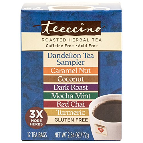 Teeccino Dandelion Roasted Herbal Tea Sampler Pack (Caramel Nut, Coconut, Dark Roast, Mocha Mint, Red Chai, Turmeric), Caffeine Free, Gluten Free, Acid Free, Coffee Substitute, Prebiotic, 12 Tea Bags