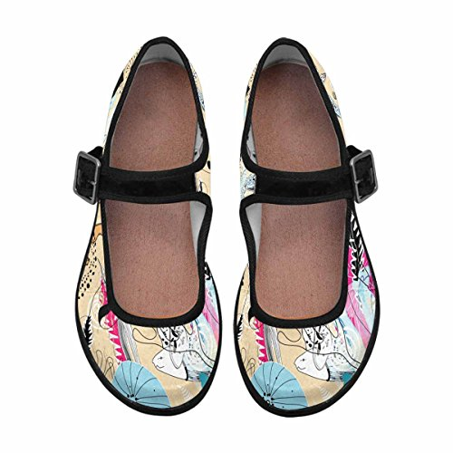 InterestPrint Womens Comfort Mary Jane Flats Casual Walking Shoes Multi 1 7AbMu