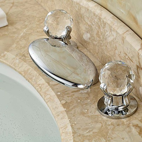 - High-end basins- benchtop faucet waterfall wide spread double crystal handles mounted bridge fittings chrome