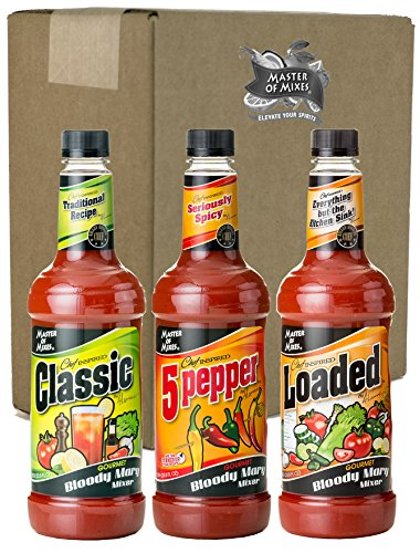 Master of Mixes Bloody Mary Variety Pack, 1 Liter Bottles (33.8 Fl Oz), Pack of 3 Flavors]()