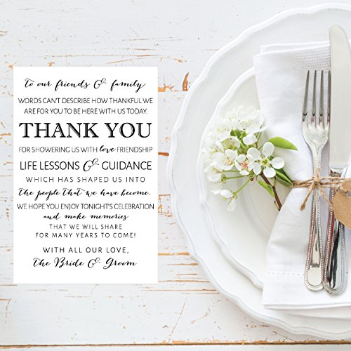 50 Wedding Thank You Place Cards, Rehearsal Dinner Thank You Table Sign, Menu Place Setting Card Notes, Placement Thank You Note Favors For Family & Guests Photo #2