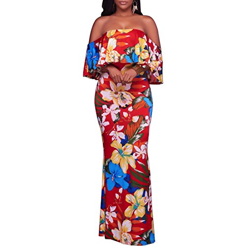 Dynen Women's Floral Print Off Shoulder Ruffle Party Long Maxi (Hawaiian Party Dress)